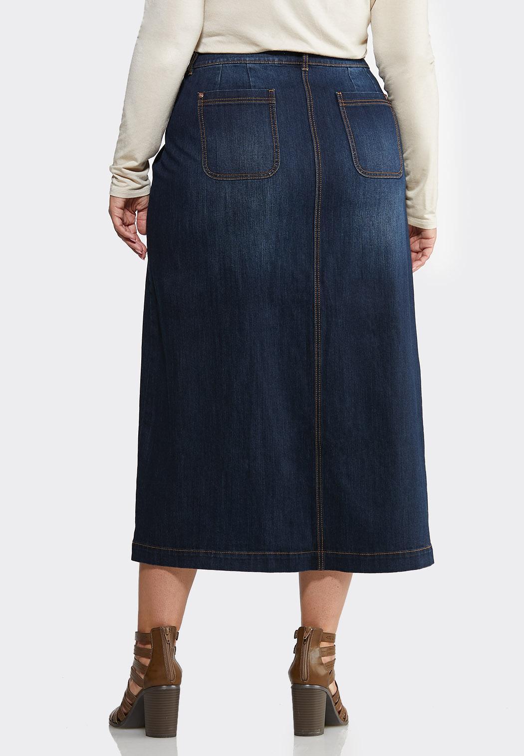 Plus Size Button Front Denim Skirt (Item #44026260)
