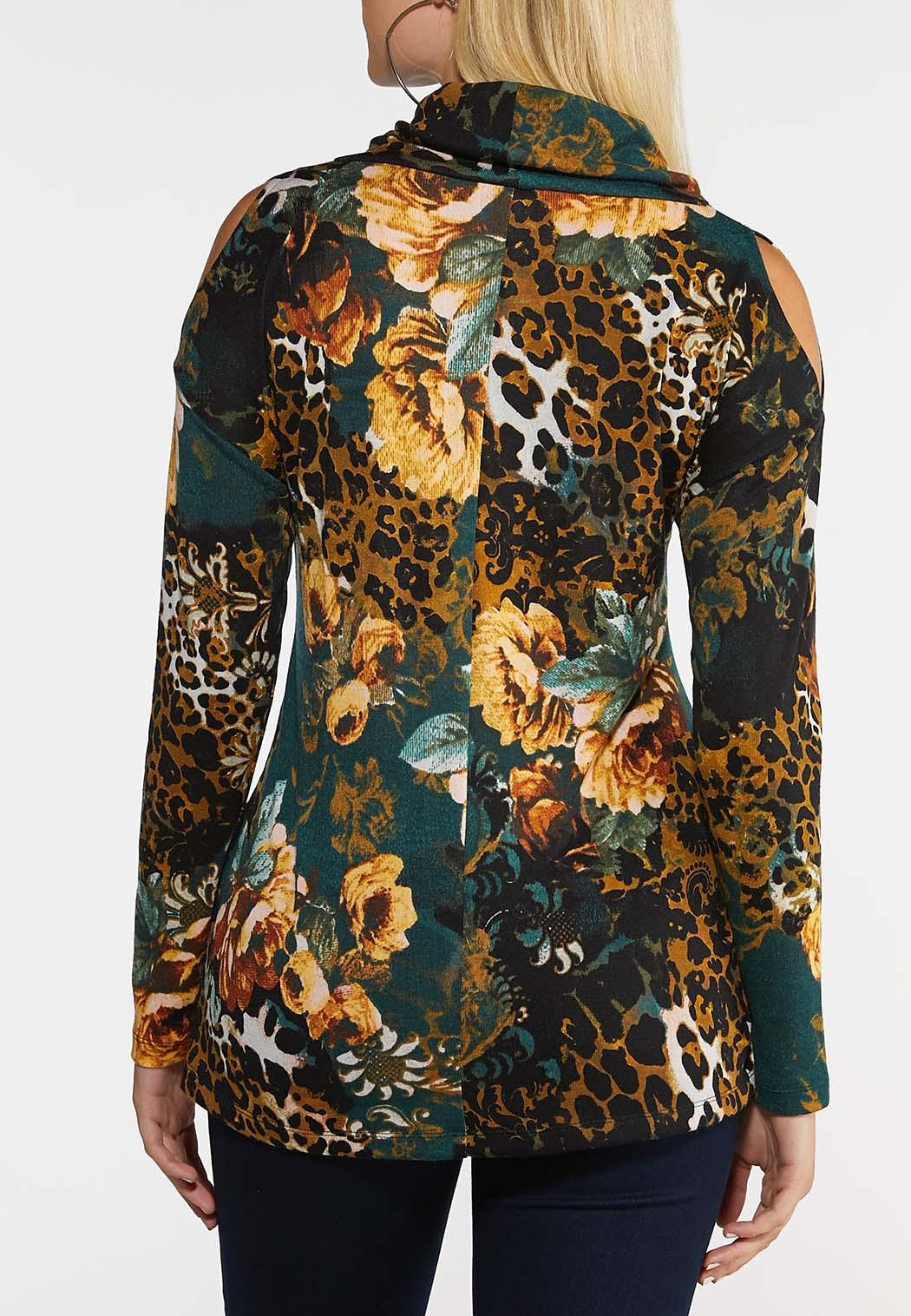 Plus Size Wild Floral Cowl Neck Top (Item #44026828)