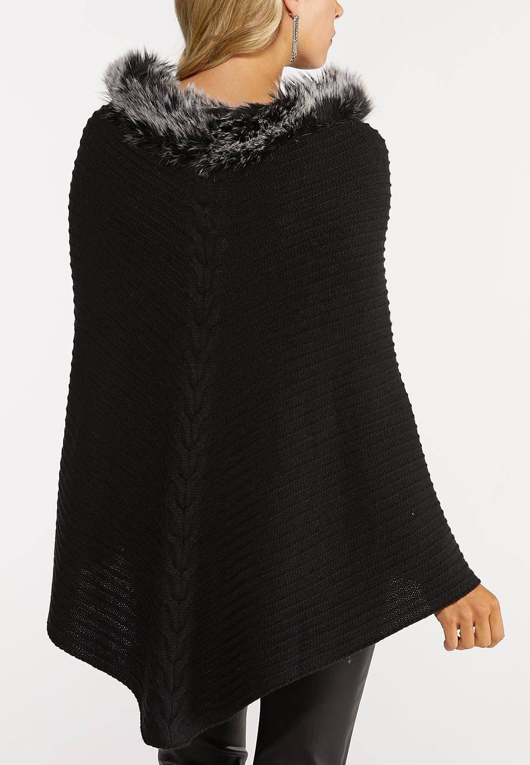 Fur Trim Black Cable Poncho (Item #44026873)