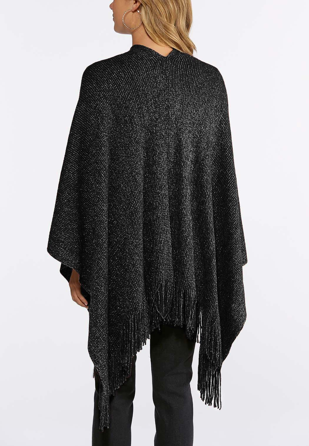 Metallic Fringe Ruana Wrap (Item #44026909)