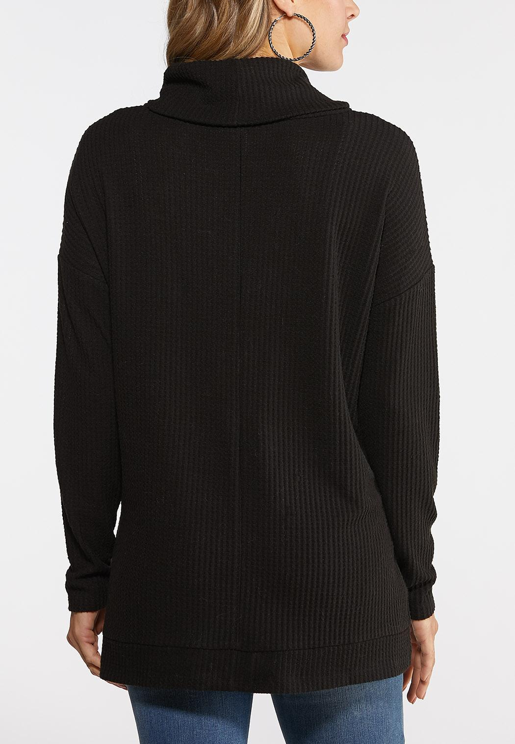 Cowl Neck Waffle Knit Top (Item #44026952)