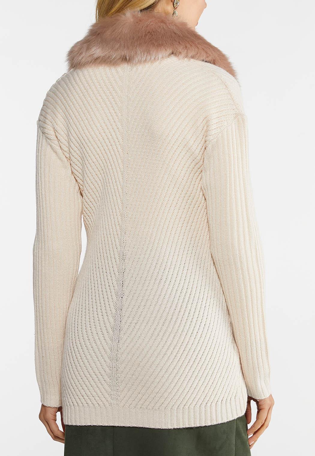 Faux Fur Collar Cardigan (Item #44027564)