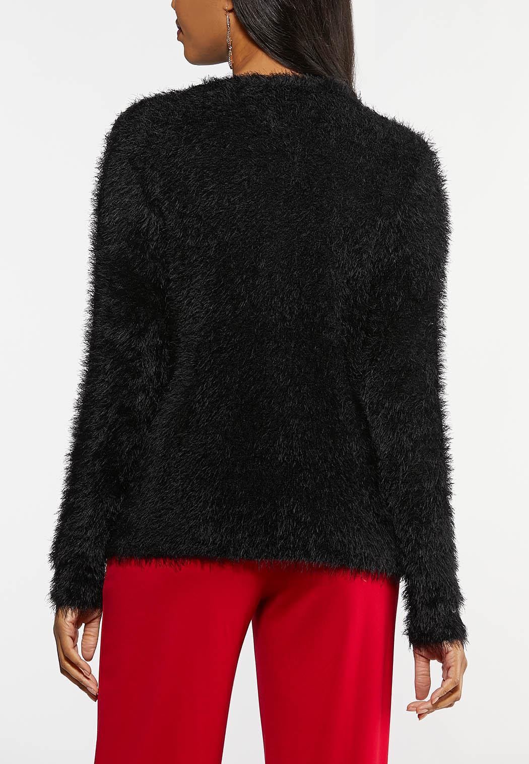 Fuzzy Black Cardigan Sweater (Item #44027587)