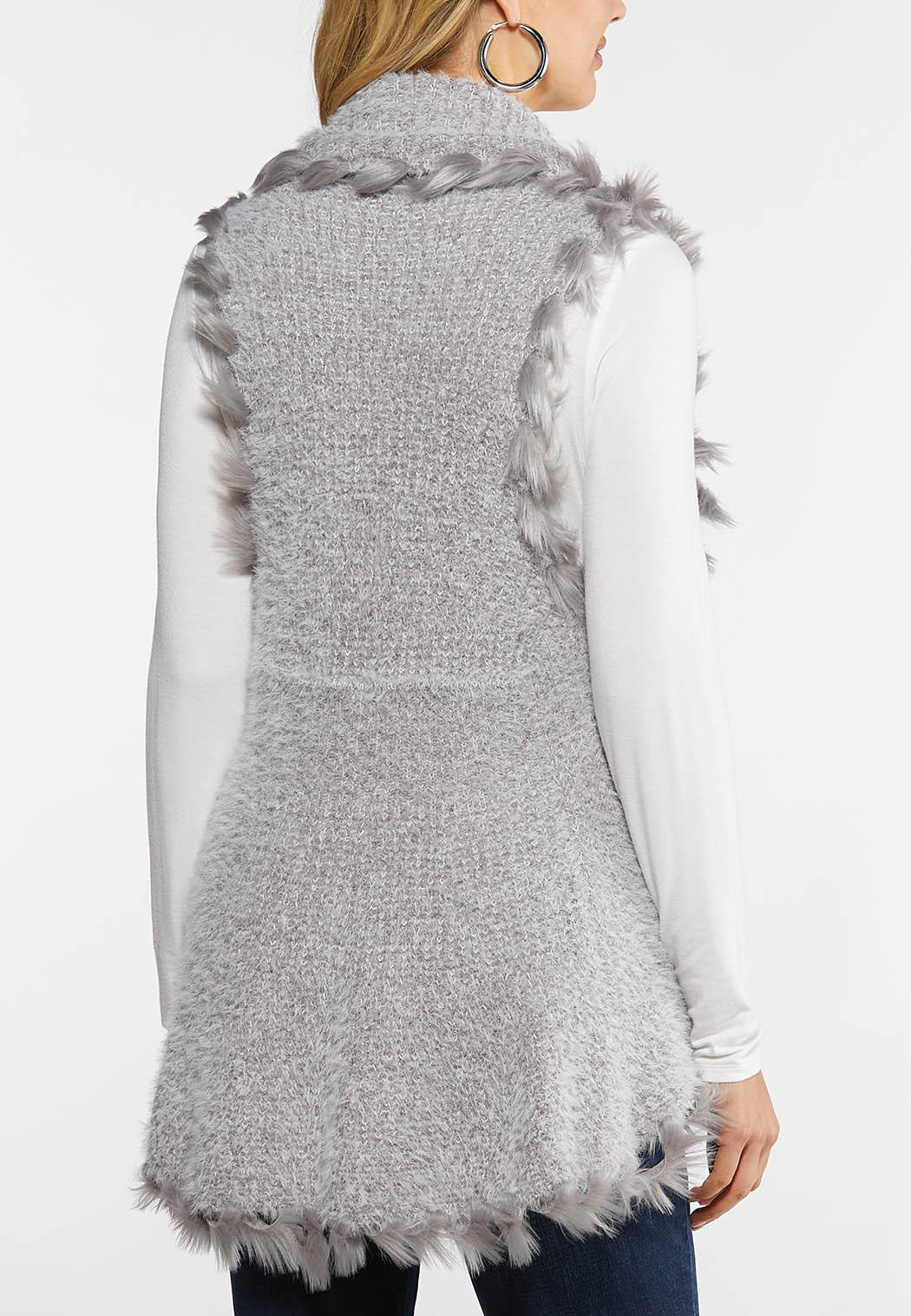 Plus Size Fuzzy Trimmed Vest (Item #44027685)