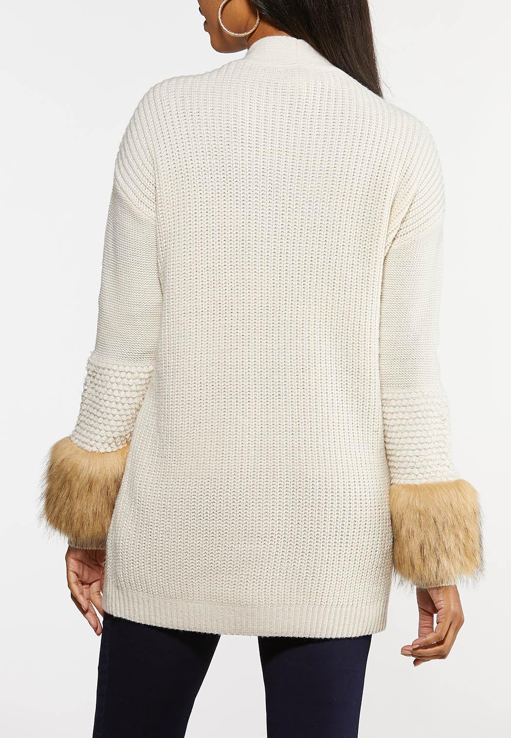 Plus Size Fur Trim Cardigan (Item #44027737)
