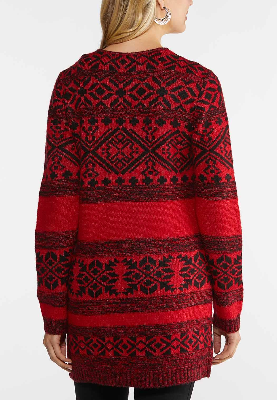 Plus Size Red Aztec Duster Cardigan (Item #44027900)