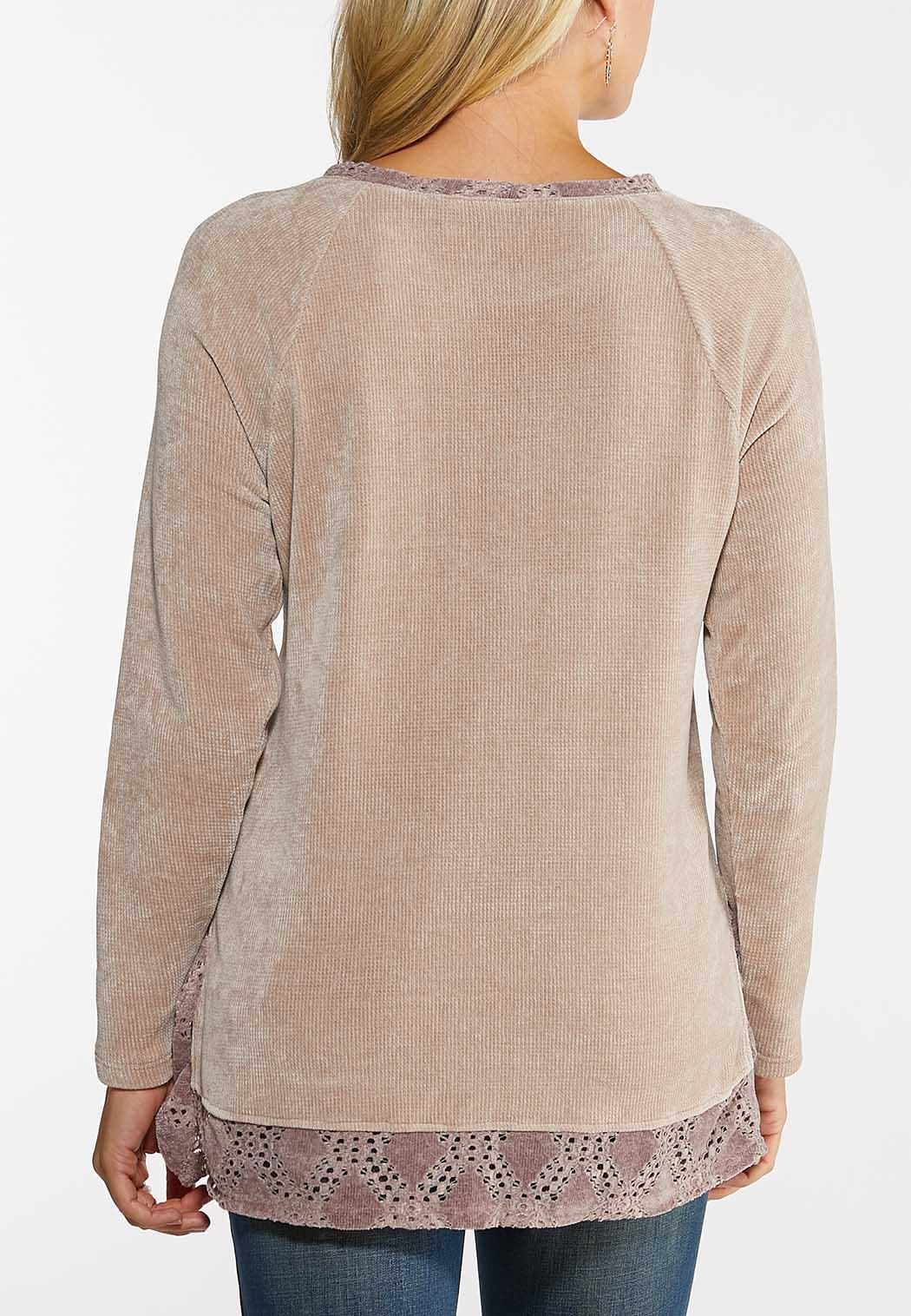 Plus Size Chenille Lace Hem Top (Item #44027987)