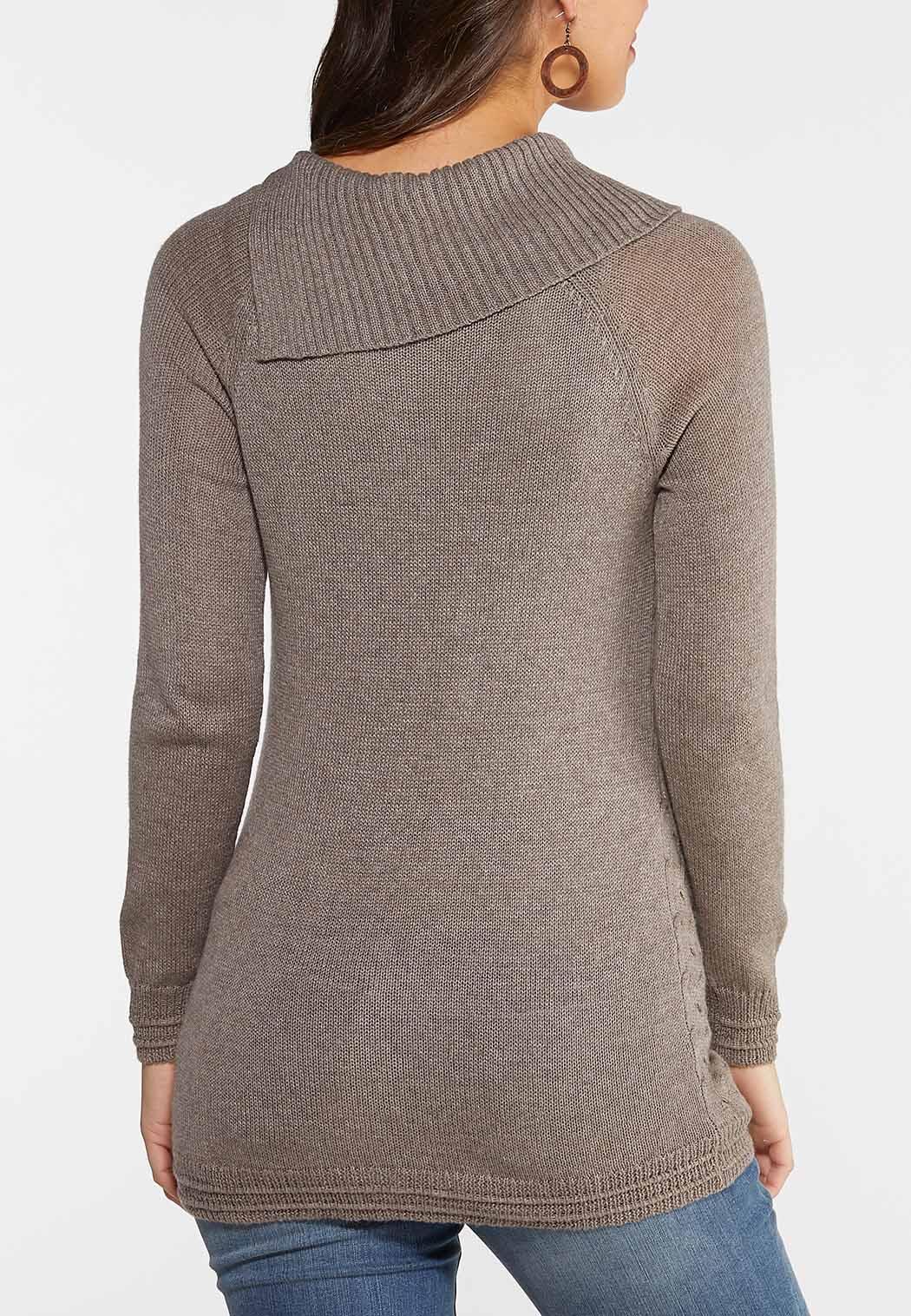 Plus Size Split Neck Button Sweater (Item #44028269)