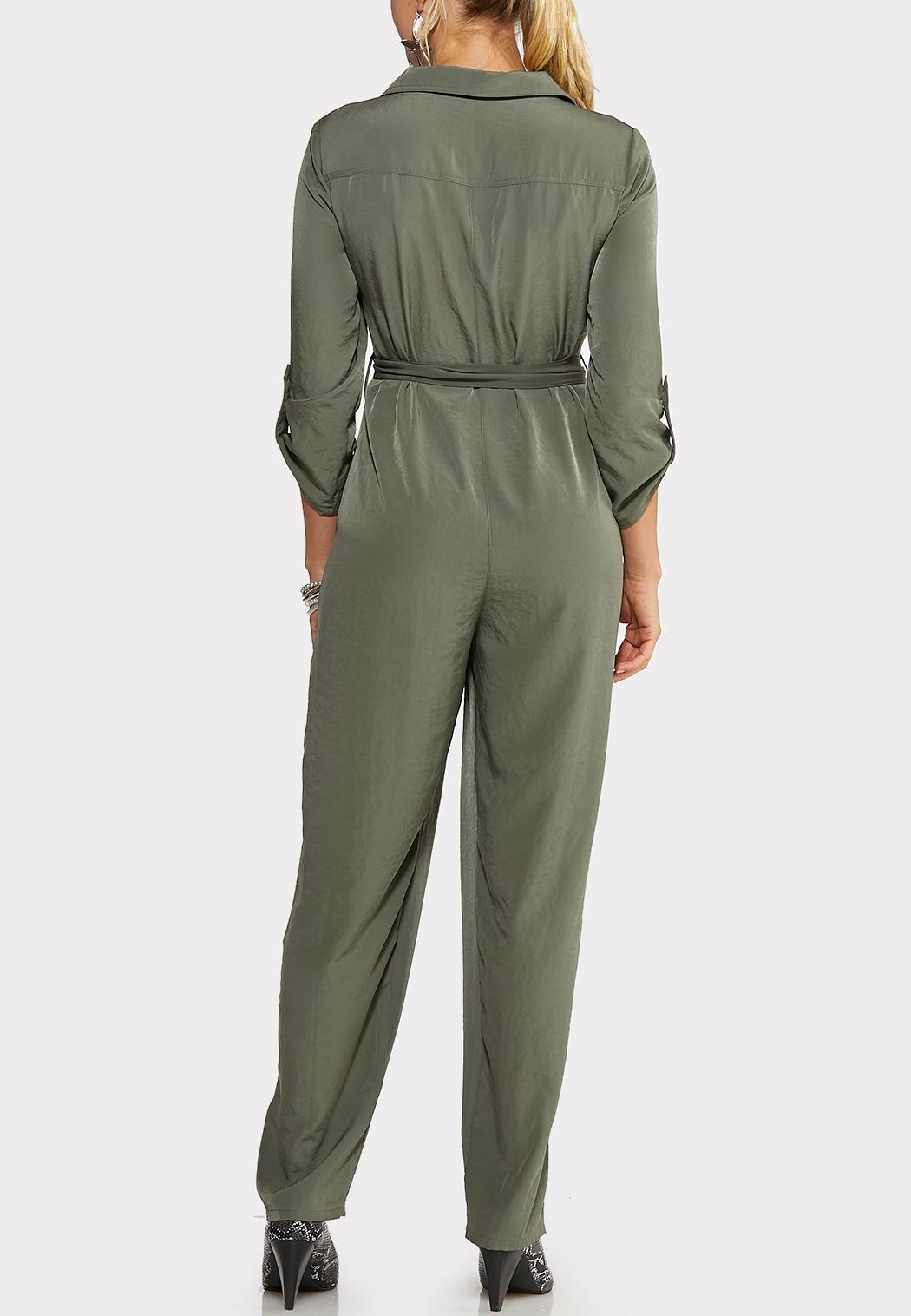 Plus Size Tie Front Utility Jumpsuit (Item #44029104)