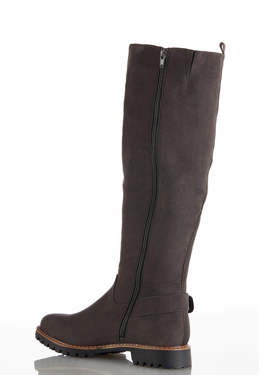 Wide Width Faux Suede Lug Riding Boots (Item #44029308)