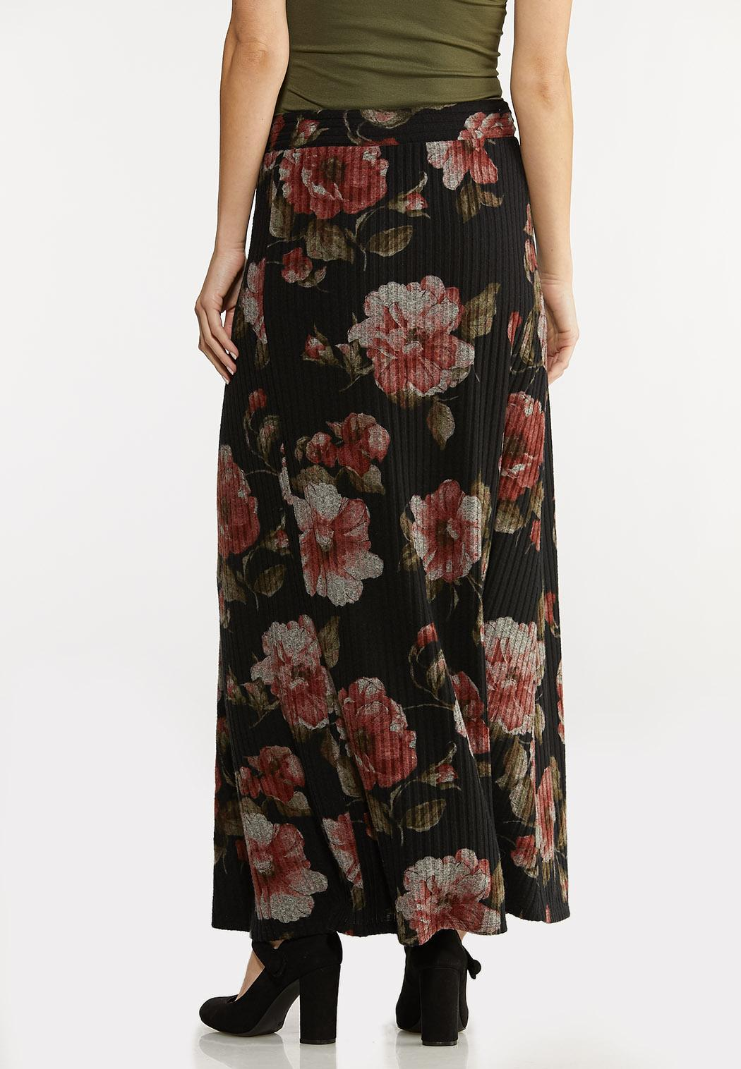 Plus Size Floral Ribbed Maxi Skirt (Item #44030767)
