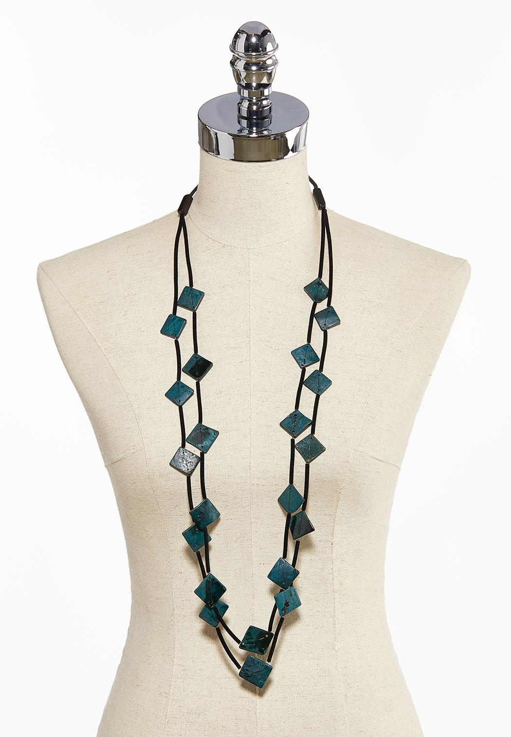 Layered Teal Bead Cord Necklace (Item #44031004)