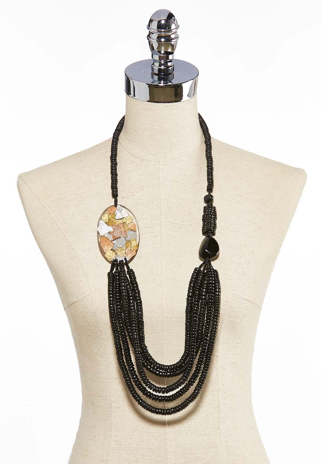 Lucite Side Pendant Layered Necklace (Item #44031006)