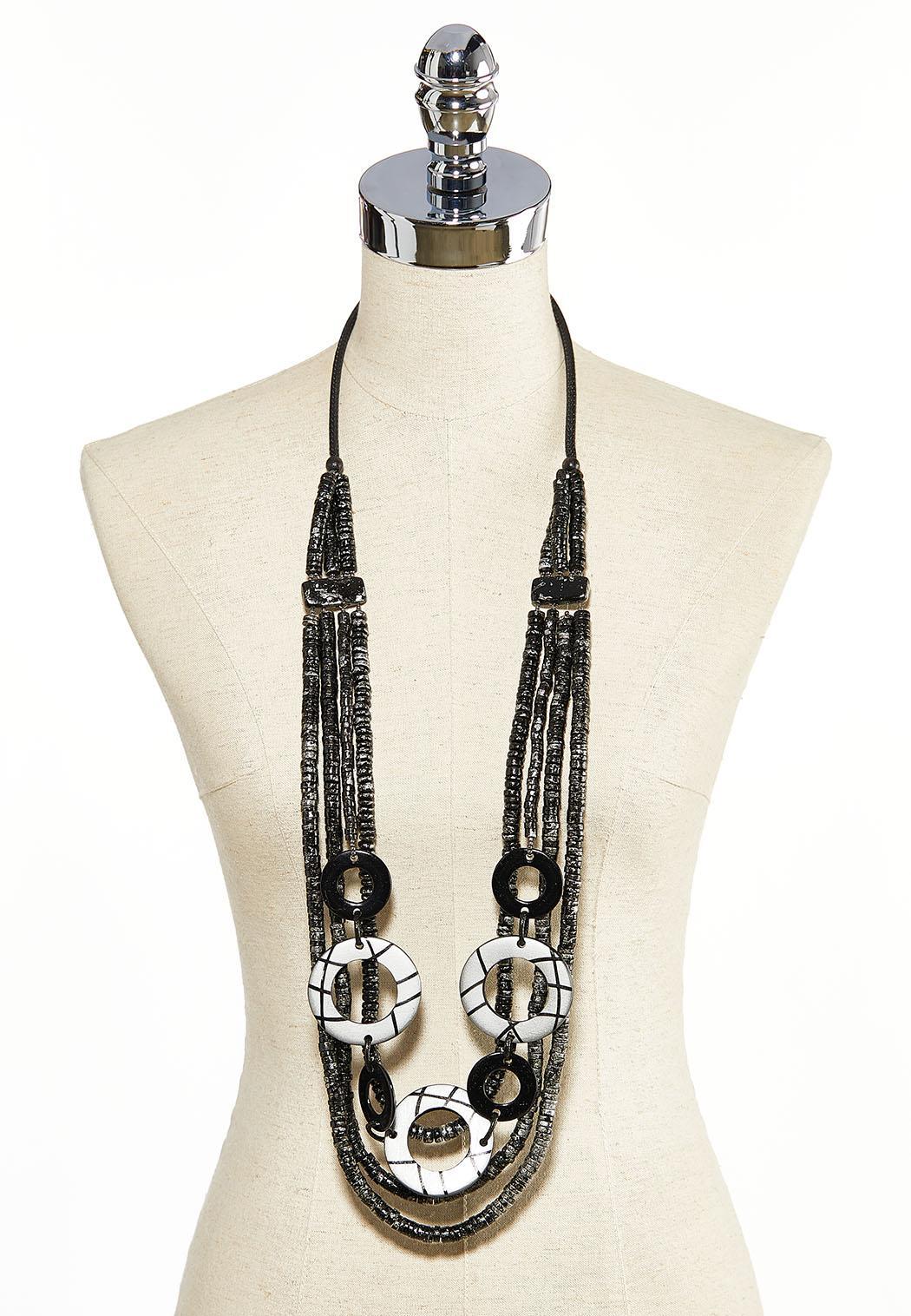 Layered Gunmetal Bead Necklace (Item #44031055)