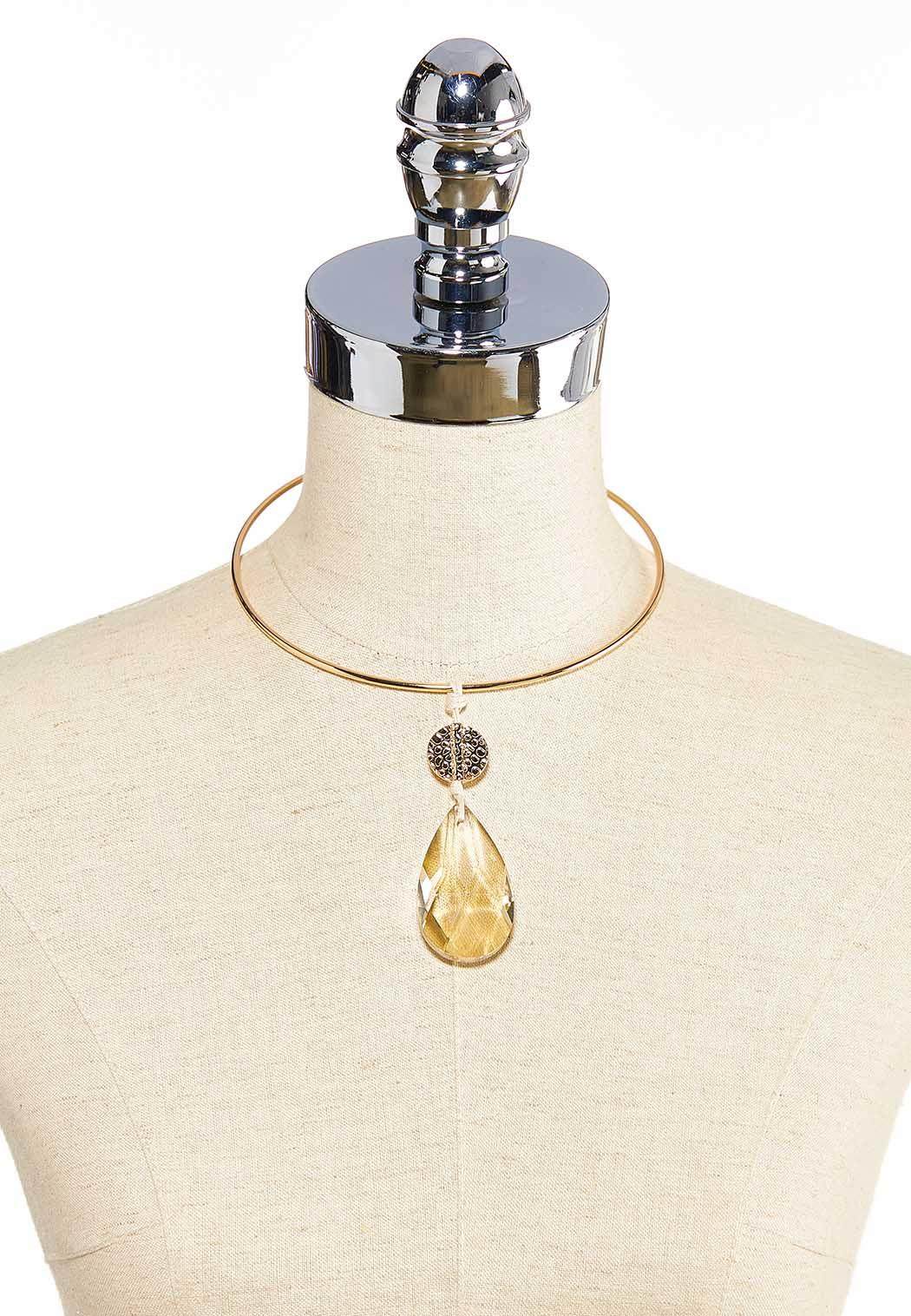 Faceted Tear Stone Wire Necklace (Item #44032472)