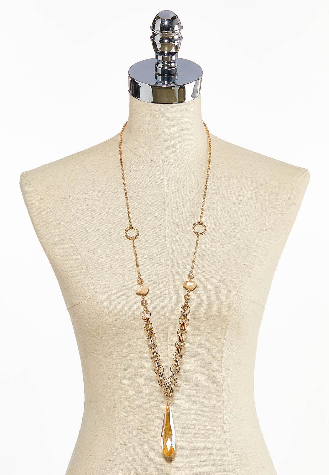 Glass Tear Shaped Pendant Necklace (Item #44032481)