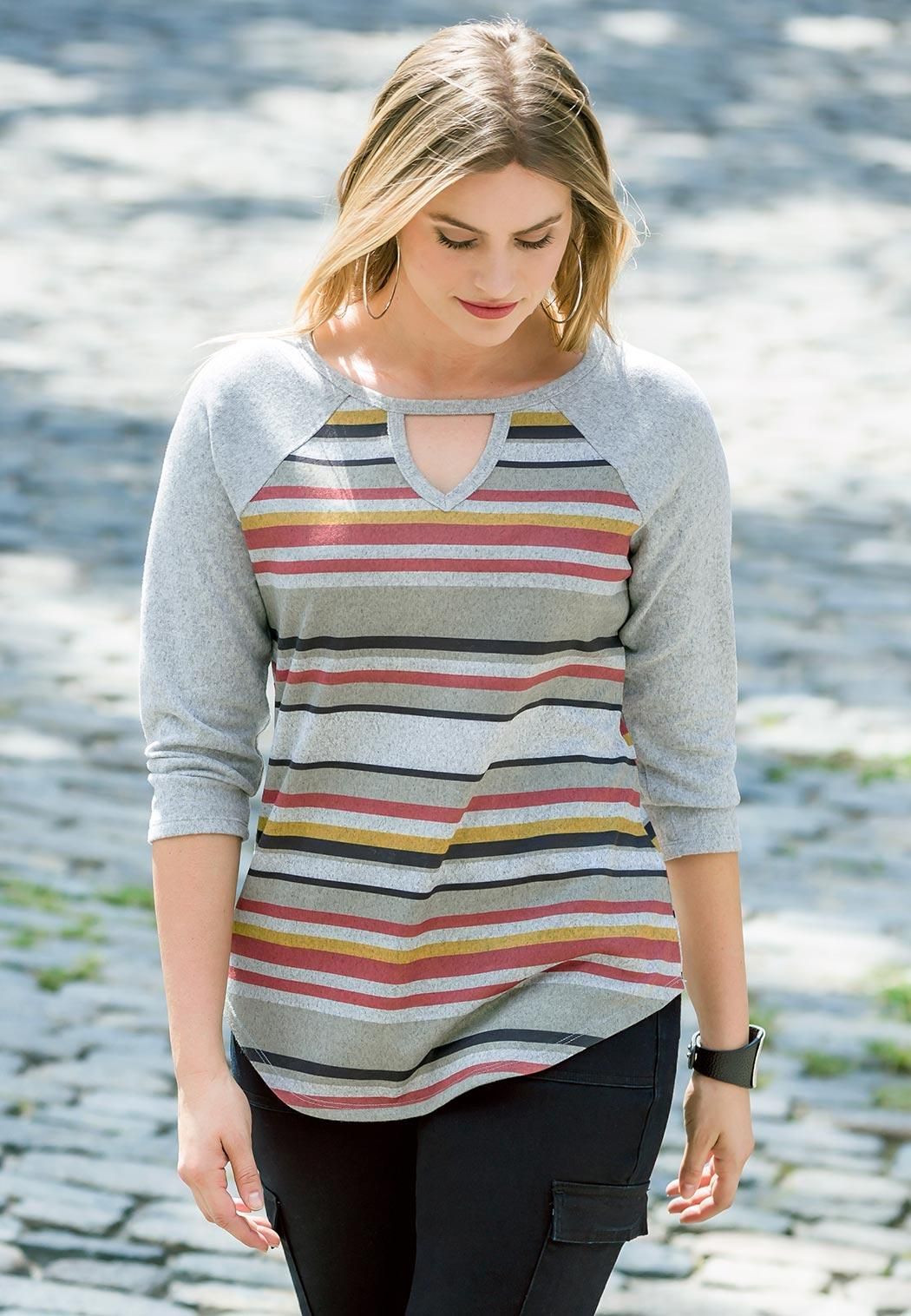 Plus Size Cozy Stripe Top (Item #44033675)