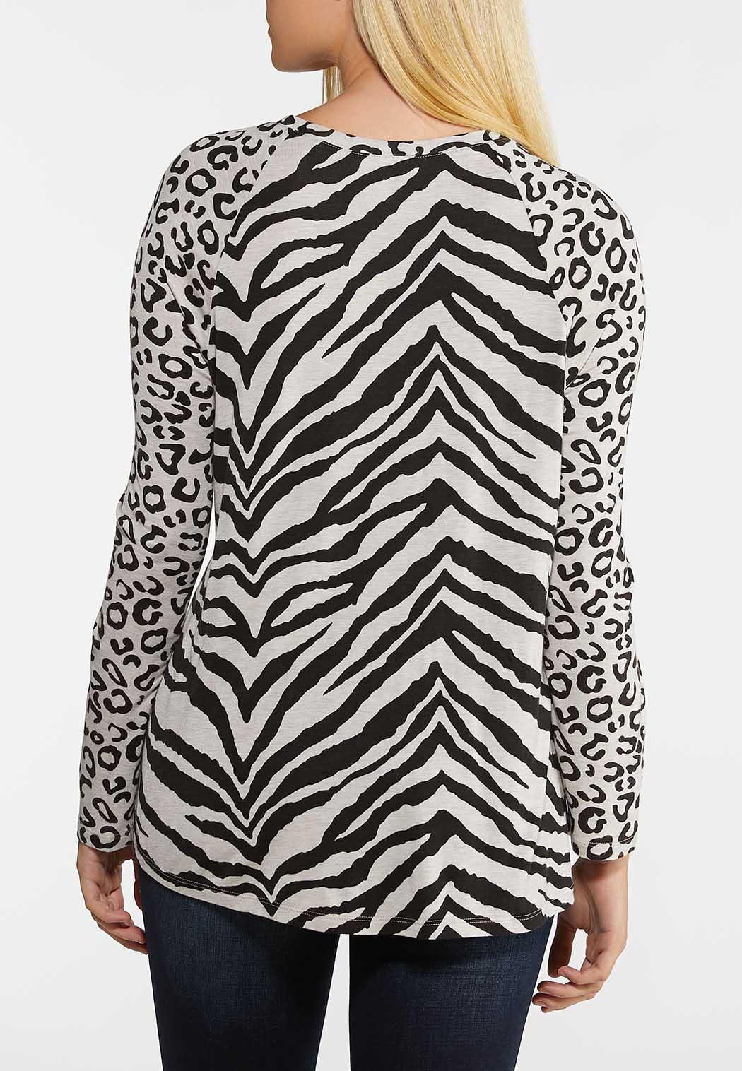 Plus Size Spots And Stripes Top (Item #44033777)