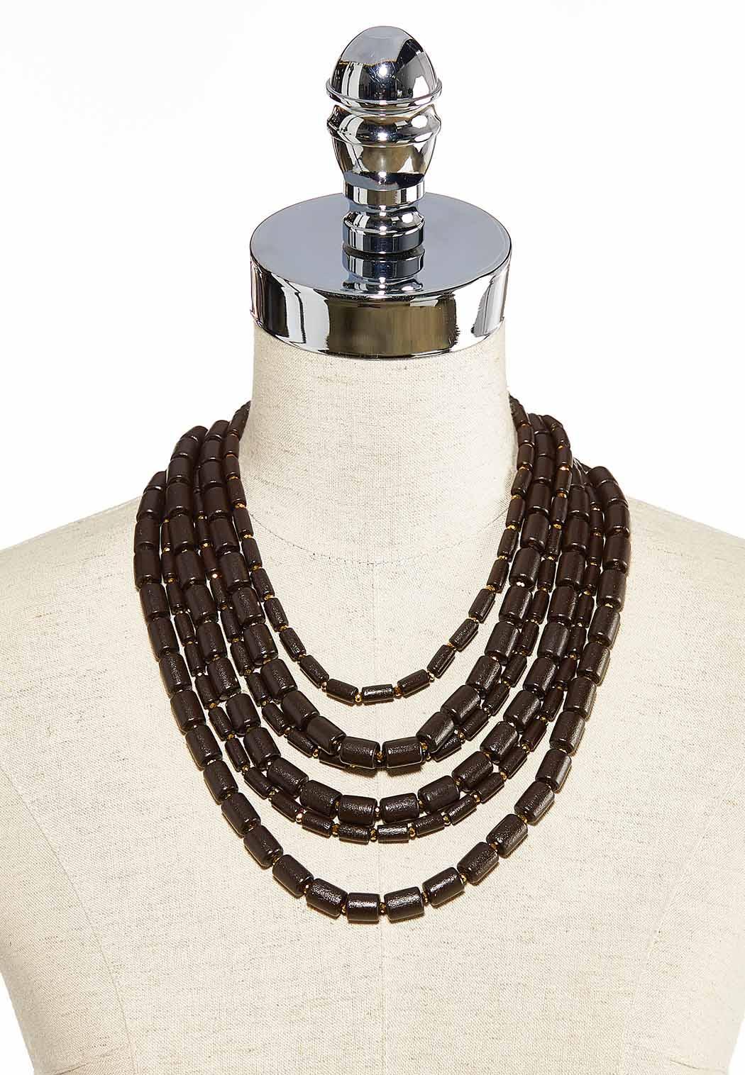 Brown Cylinder Bead Bib Necklace (Item #44034176)