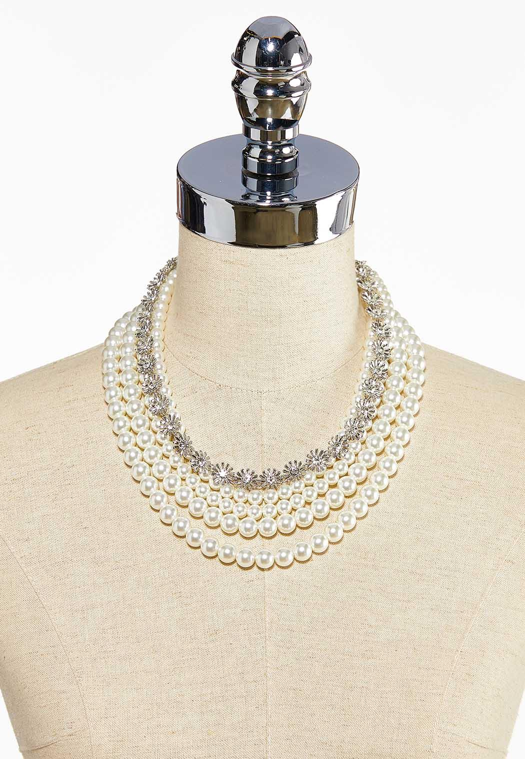 Layered Flower Pearl Necklace (Item #44034408)