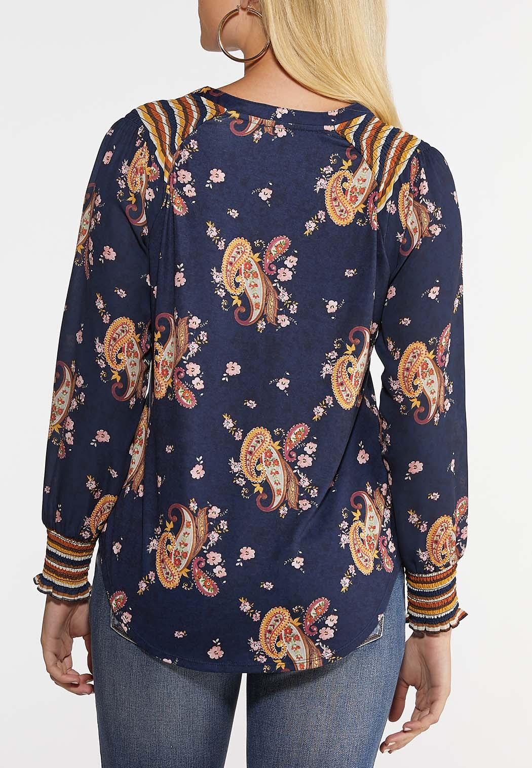 Plus Size Smocked Paisley Top (Item #44034562)