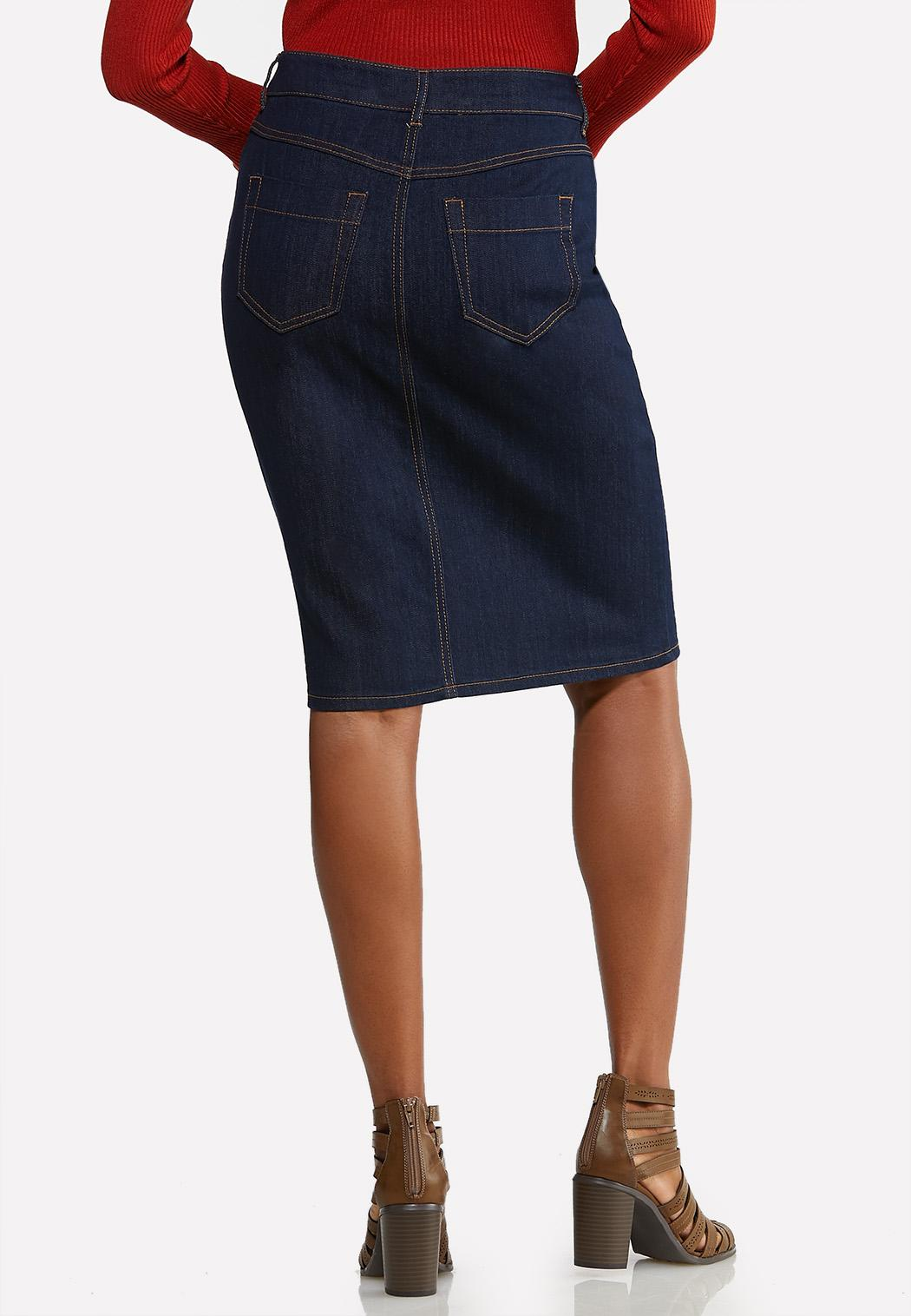 Plus Size Zip Front Denim Skirt (Item #44034907)