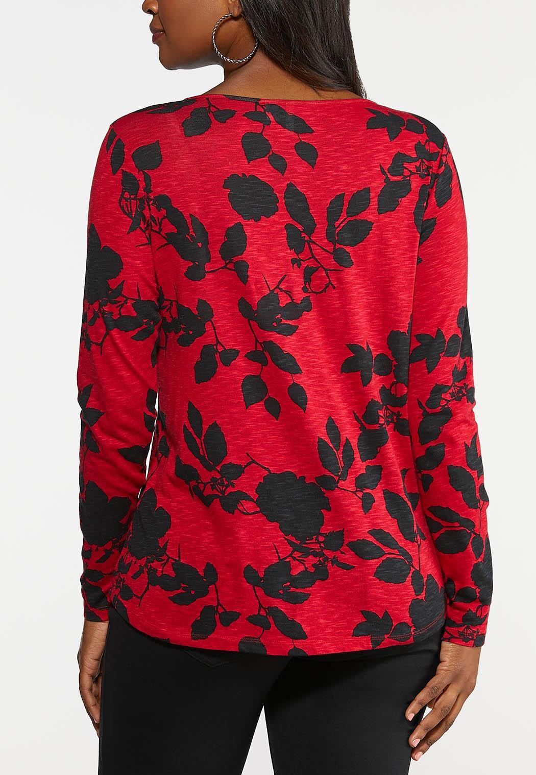 Plus Size Cross Neck Floral Top (Item #44035553)