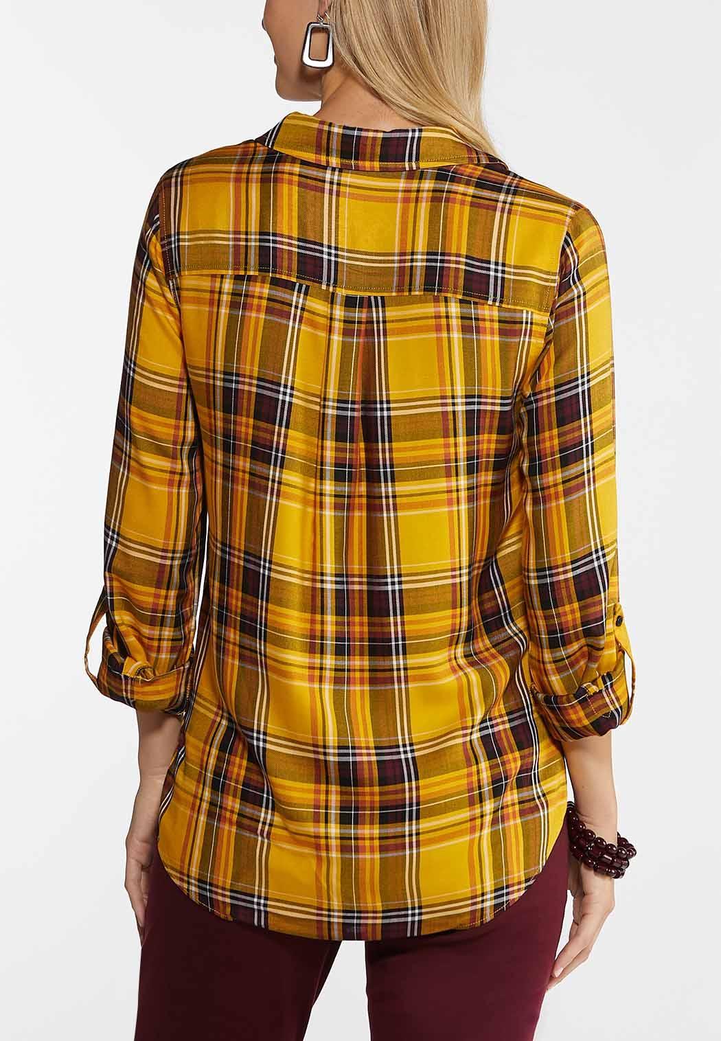 Plus Size Golden Plaid Shirt (Item #44038254)