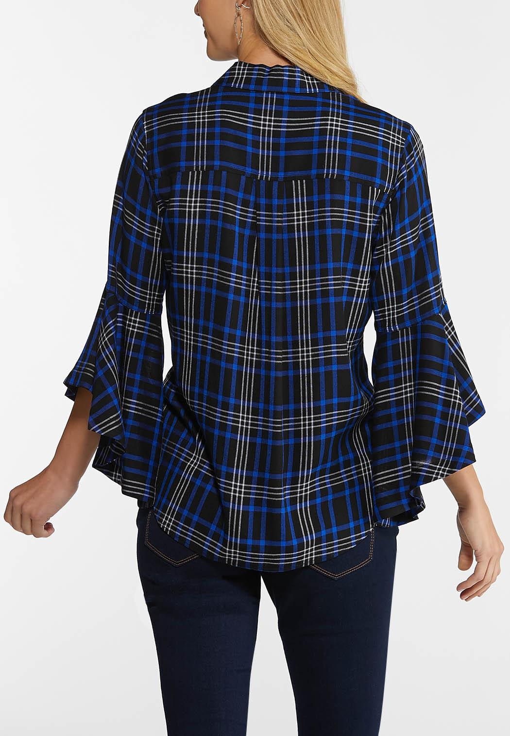 Plus Size Ruffle Sleeve Plaid Top (Item #44038319)