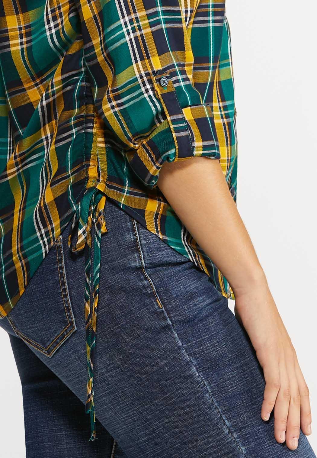 Plus Size Side Tie Plaid Top (Item #44038404)