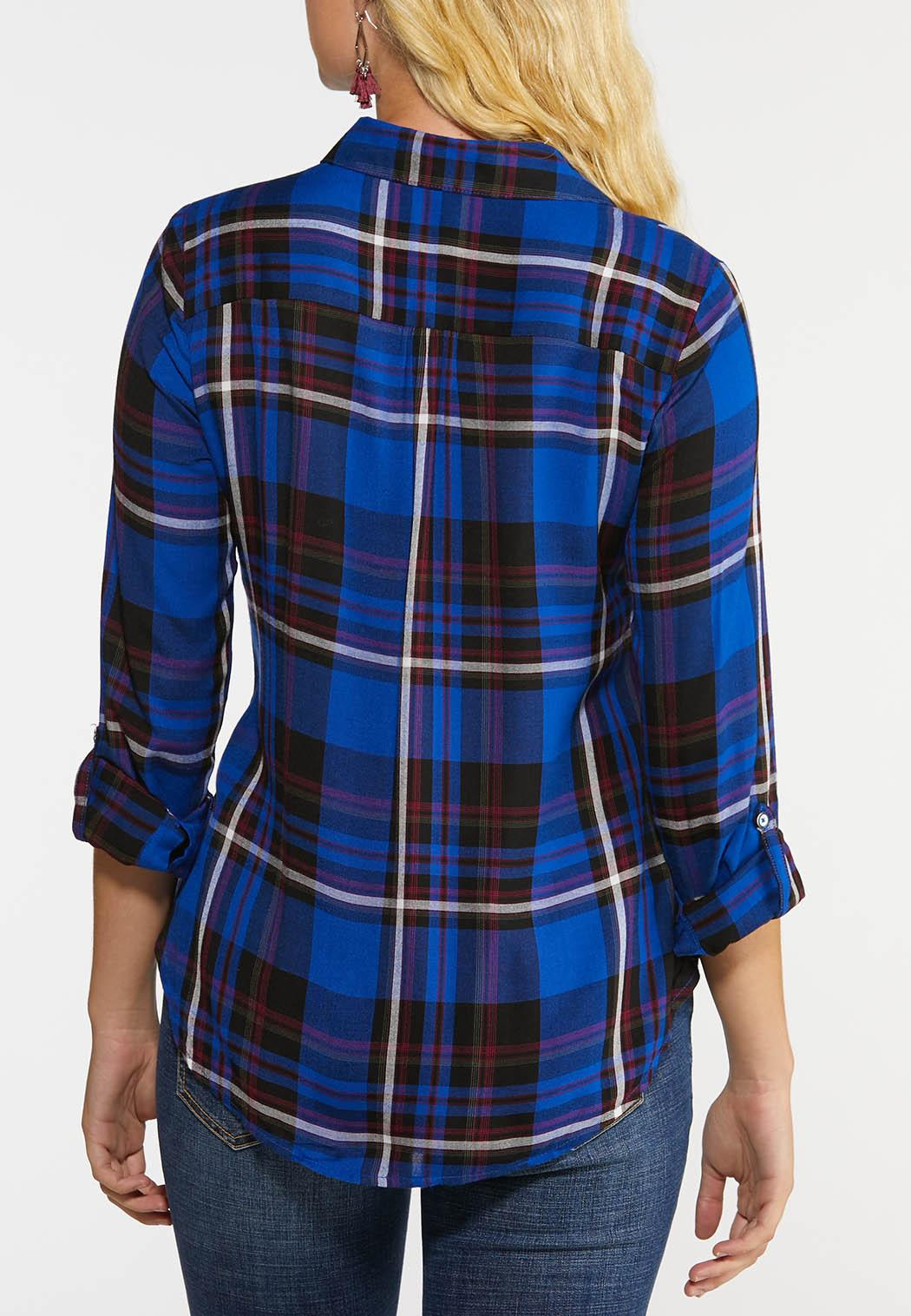 Plus Size Plaid Twist Top (Item #44038658)