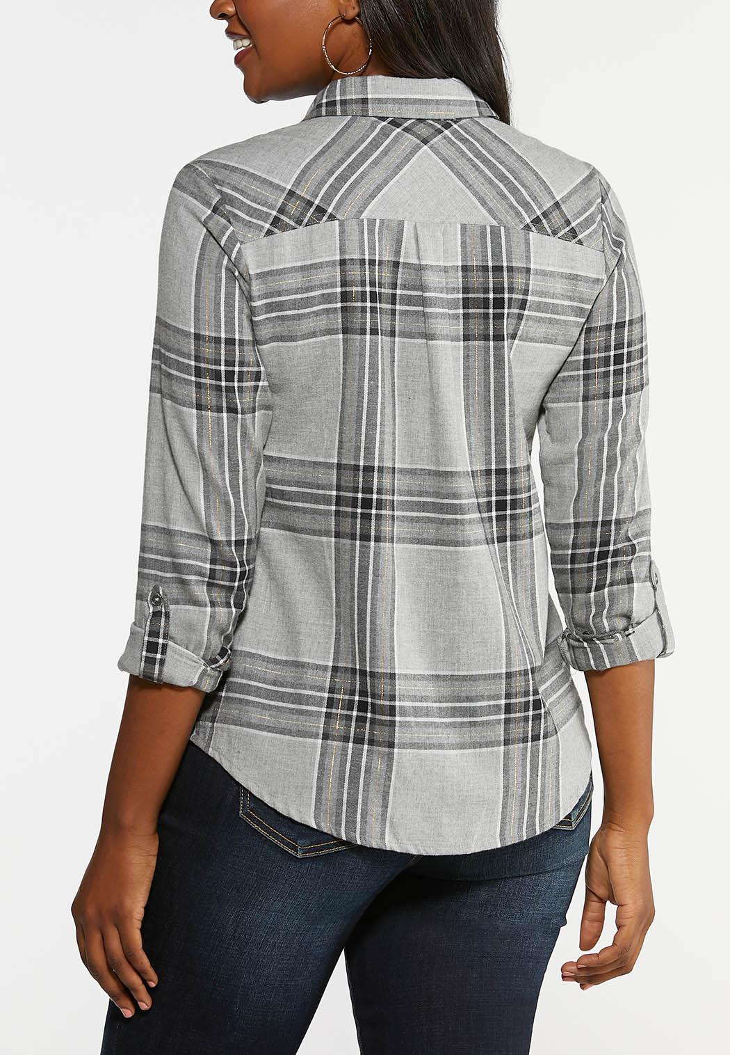 Plus Size Brushed Plaid Top (Item #44038966)