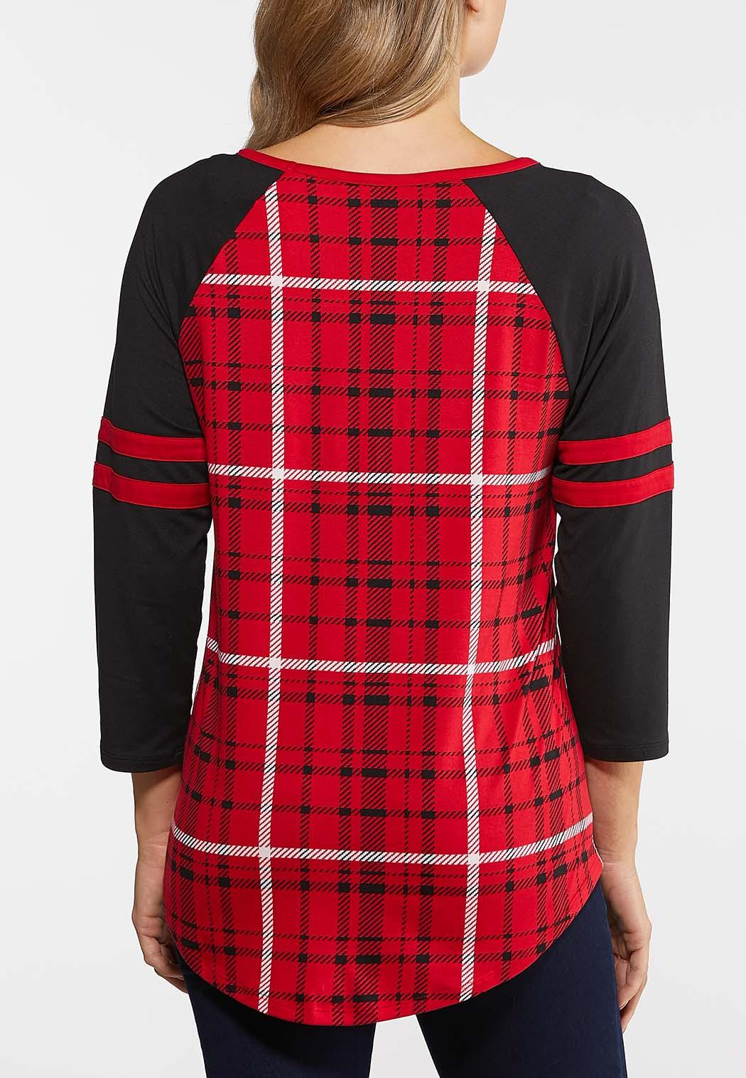 Plus Size Red Check Baseball Tee (Item #44040069)