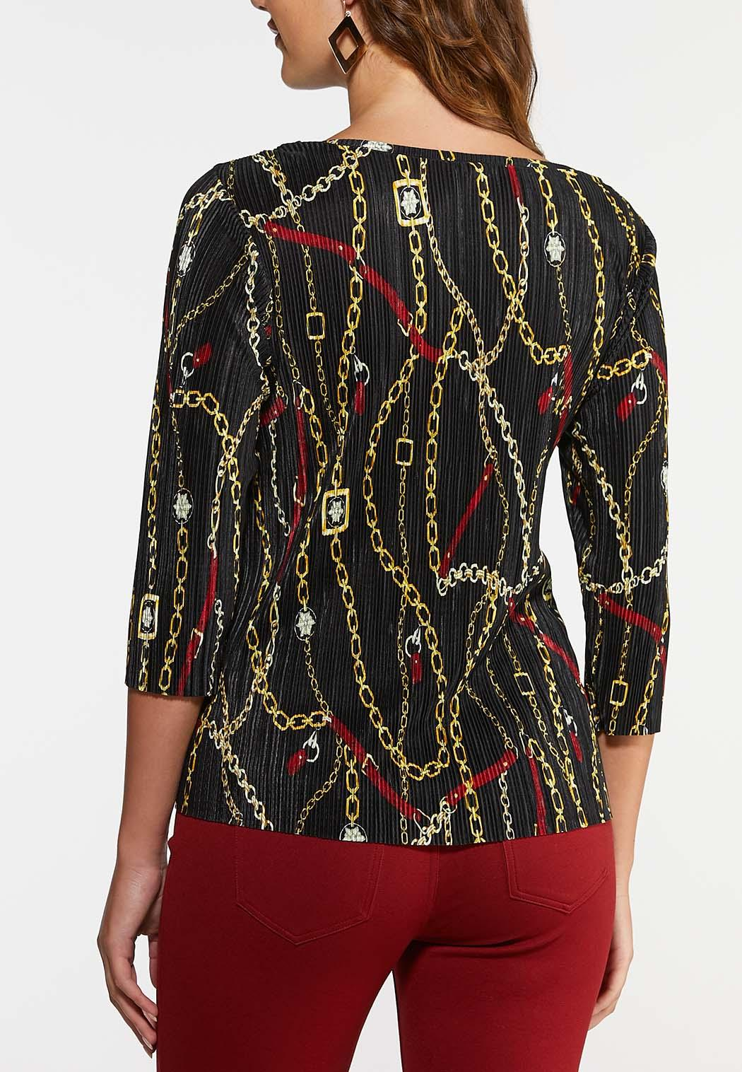 Plus Size Pleated Chain Print Top (Item #44040669)