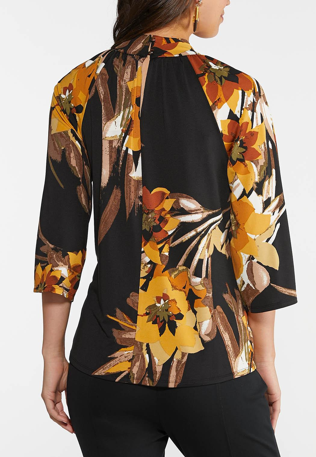 Plus Size Floral Mock Neck Top (Item #44040950)