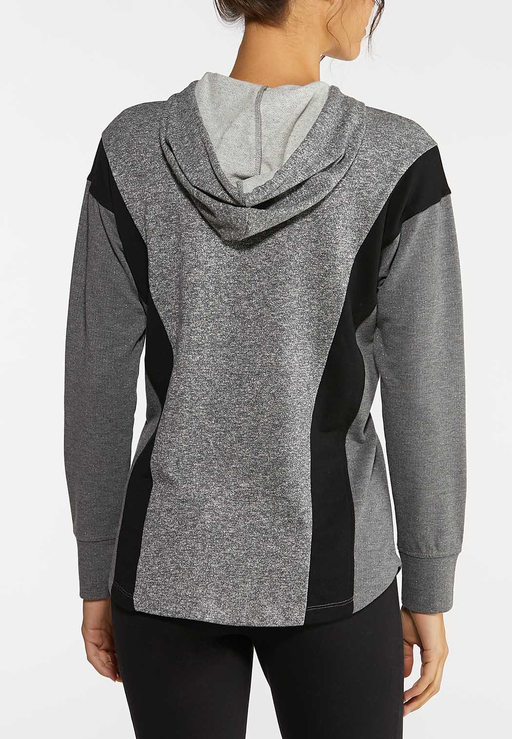 Plus Size Gray Athleisure Hooded Top (Item #44042333)