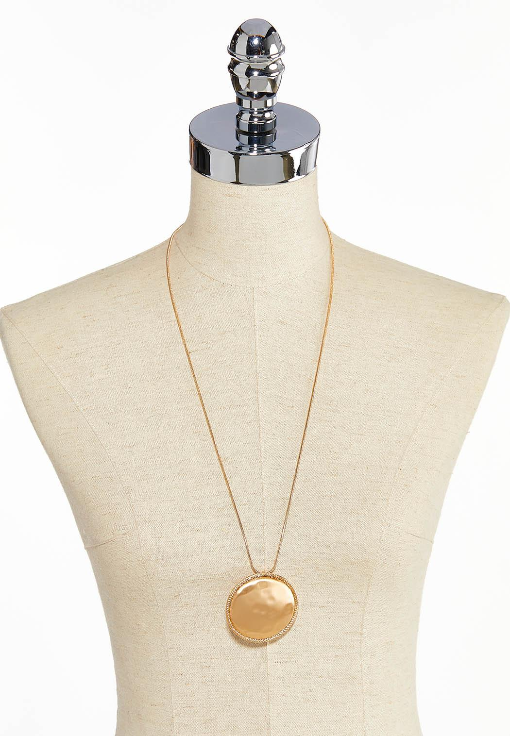 Brushed Gold Disc Pendant Necklace (Item #44044035)