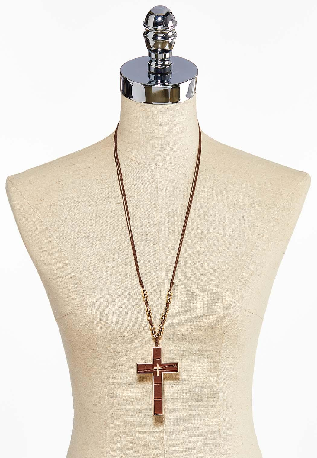 Faux Leather Cross Necklace (Item #44044057)