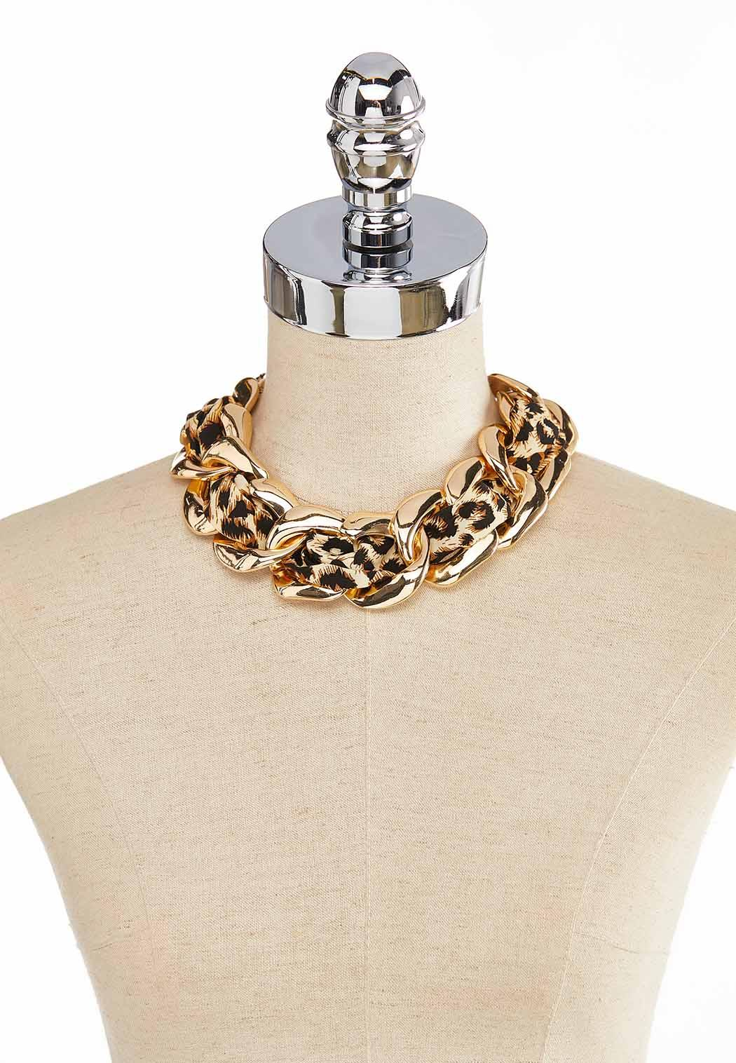 Leopard Fabric Link Necklace (Item #44044569)