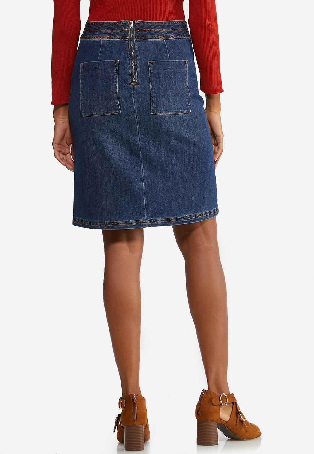 Button Denim Skirt (Item #44045850)