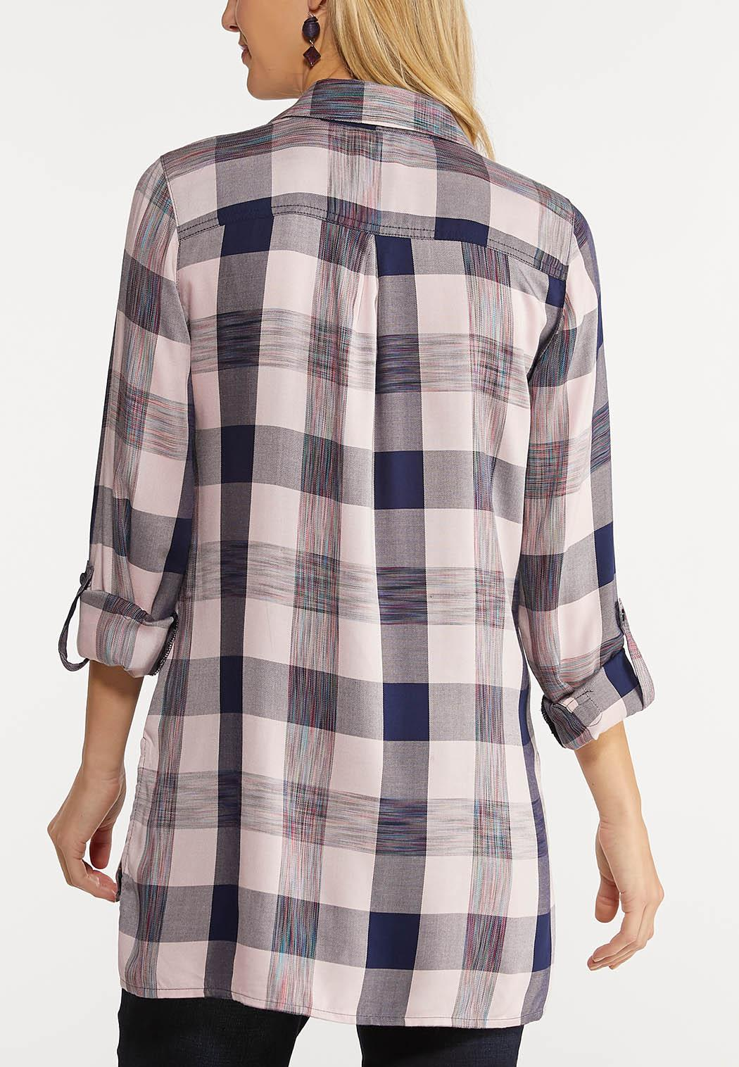 Plus Size Pink Plaid Tunic (Item #44047033)