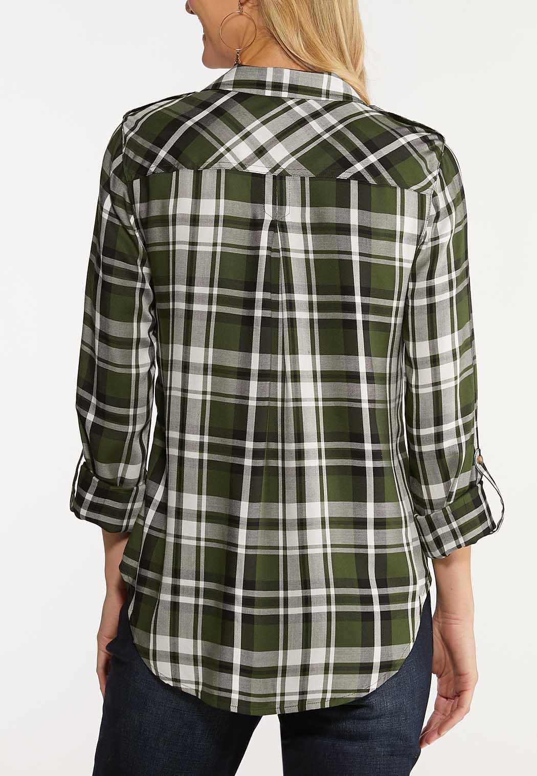 Plus Size Green Plaid Utility Shirt (Item #44047067)