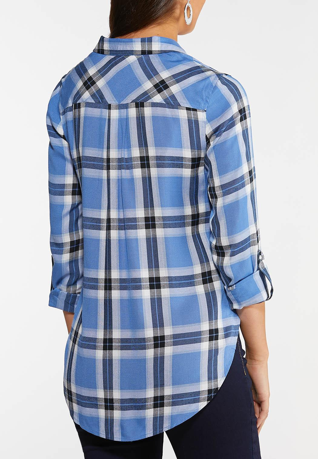 Plus Size Sky Blue Plaid Shirt (Item #44047088)