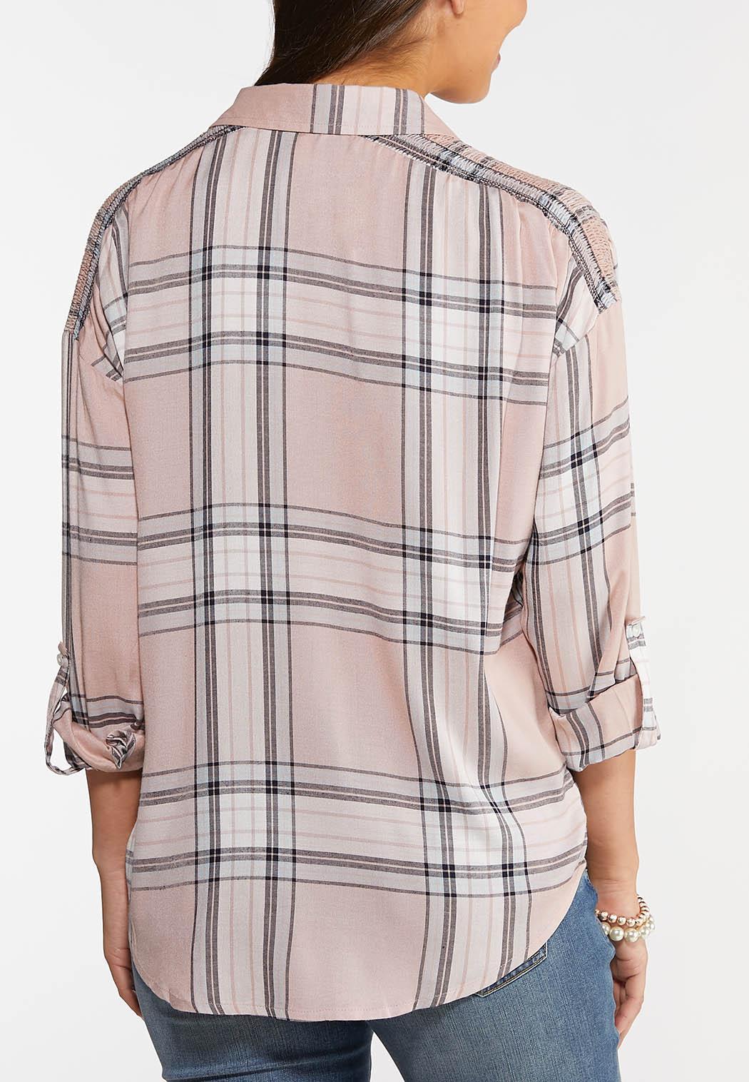 Plus Size Plaid Smocked Sleeve Top (Item #44047297)