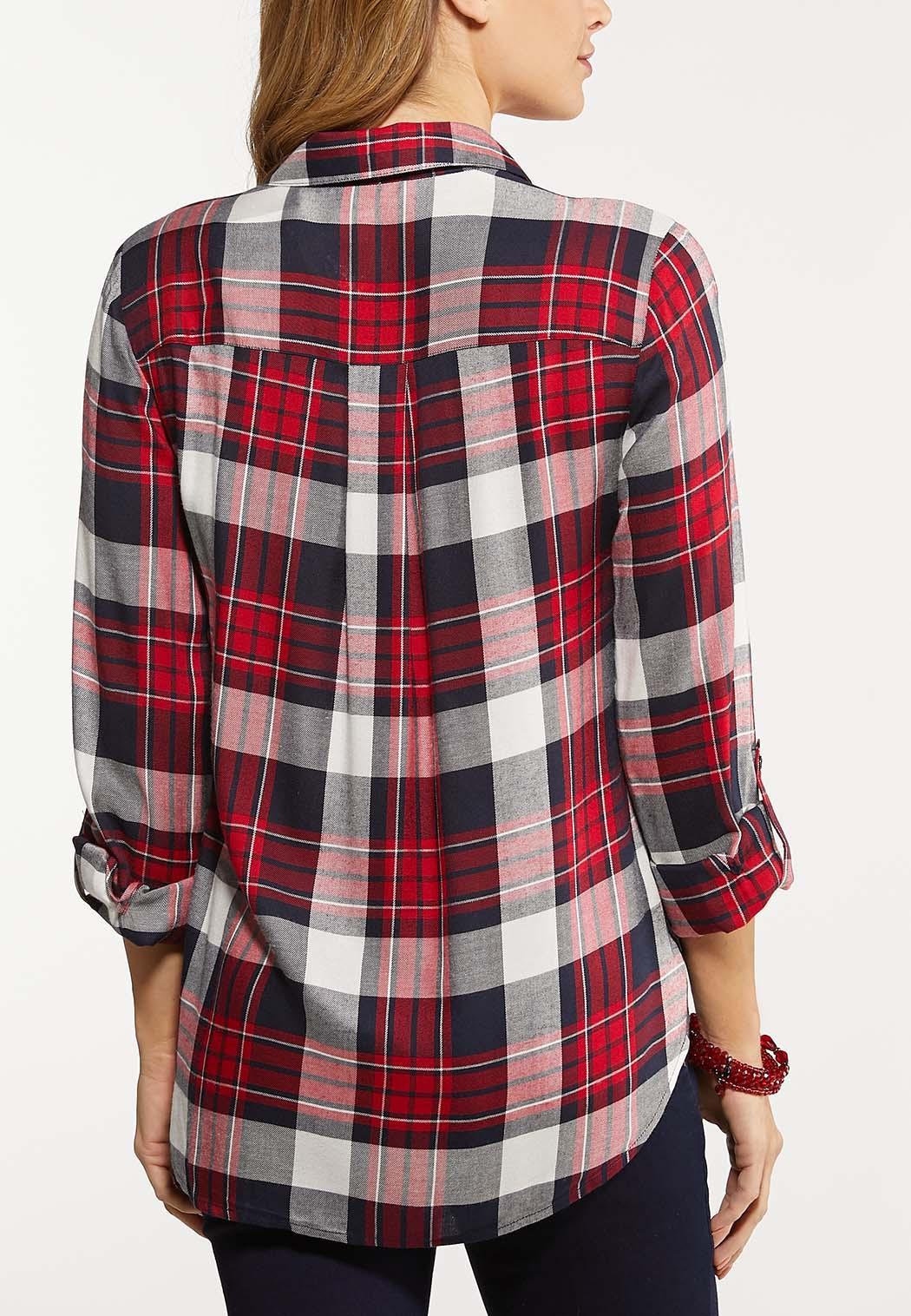 Plus Size Plaid Tie Front Shirt (Item #44047411)