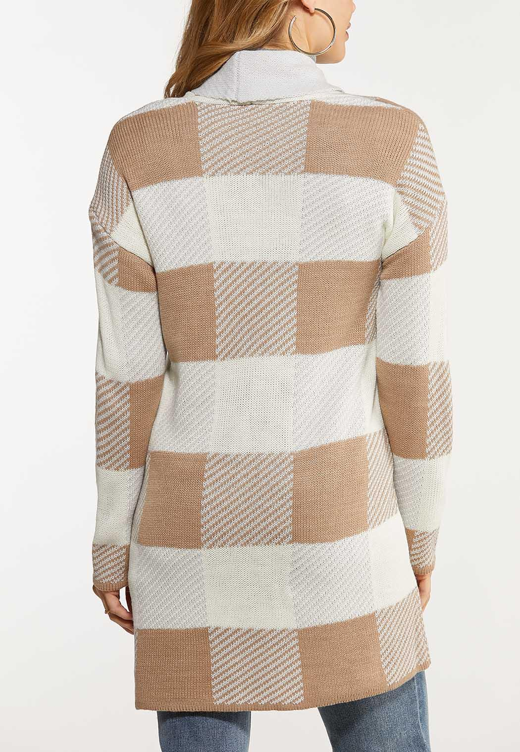 Plus Size Oatmeal Plaid Cardigan (Item #44047952)