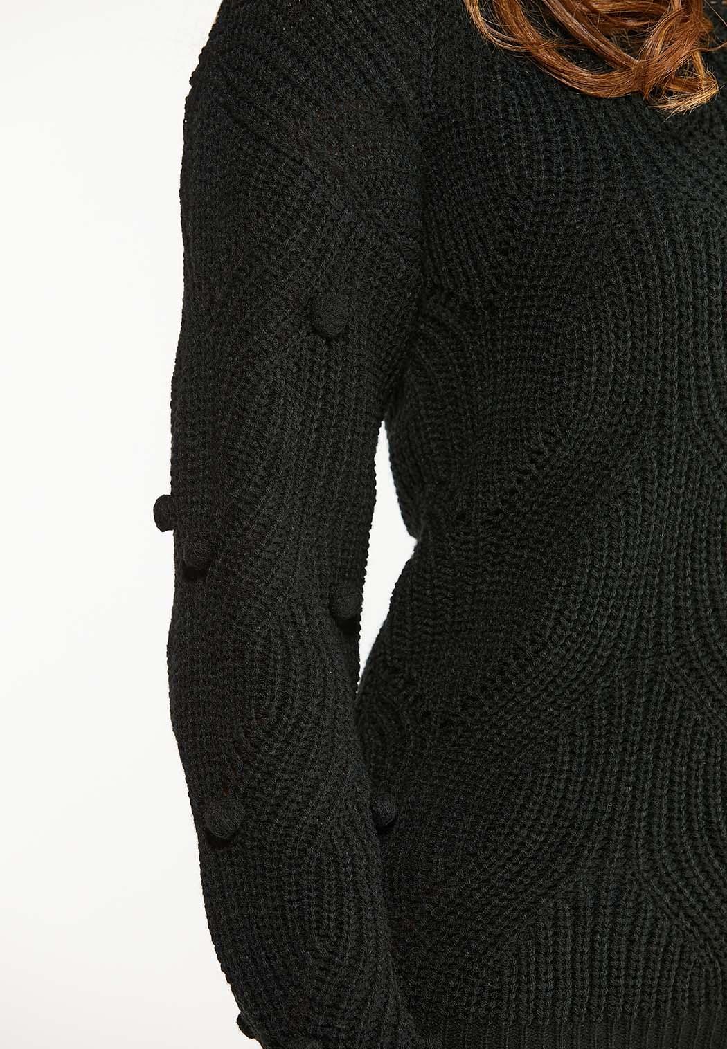Black Pom Sleeve Sweater (Item #44047973)