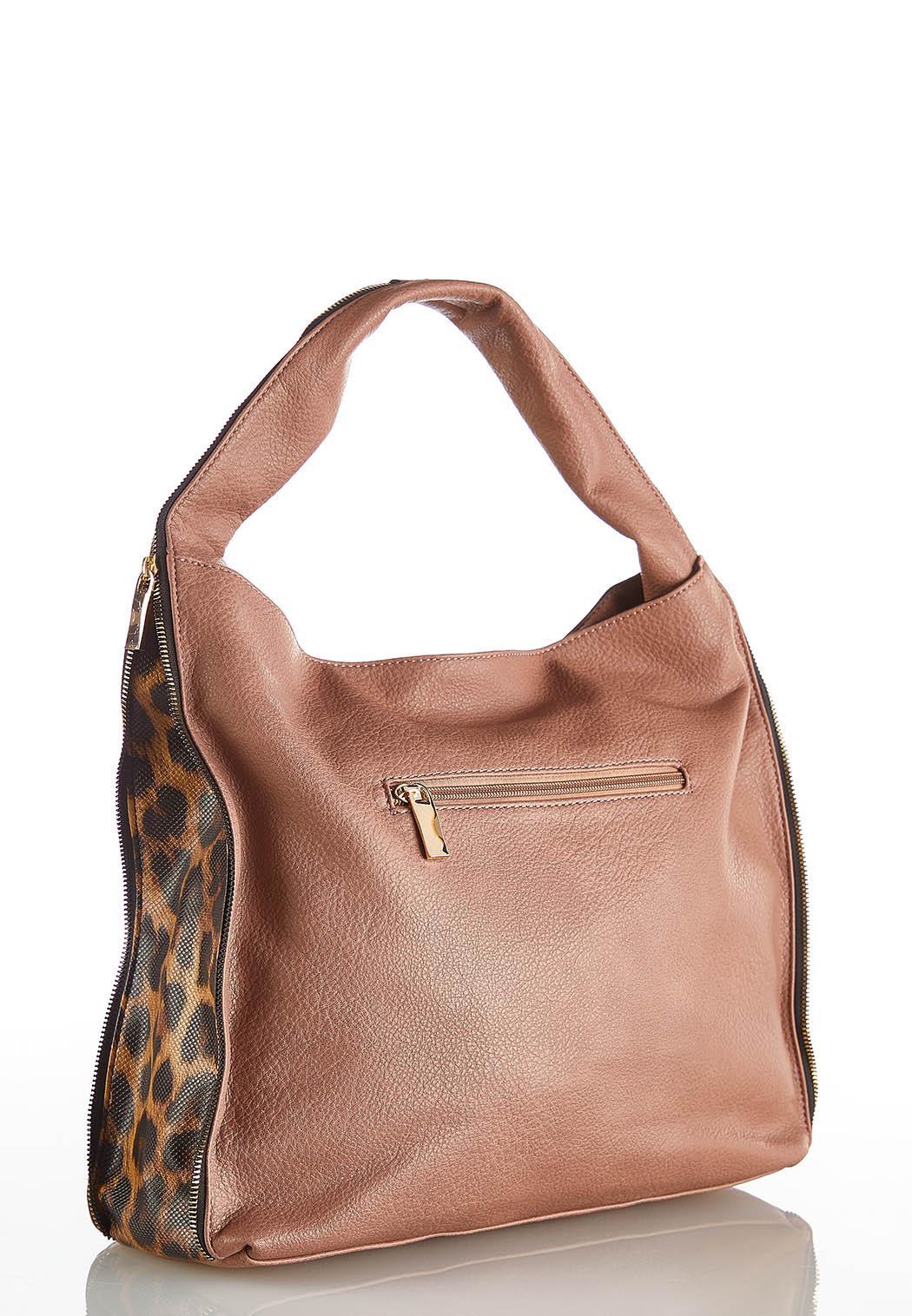 Zippered Leopard Side Hobo Handbag (Item #44048443)