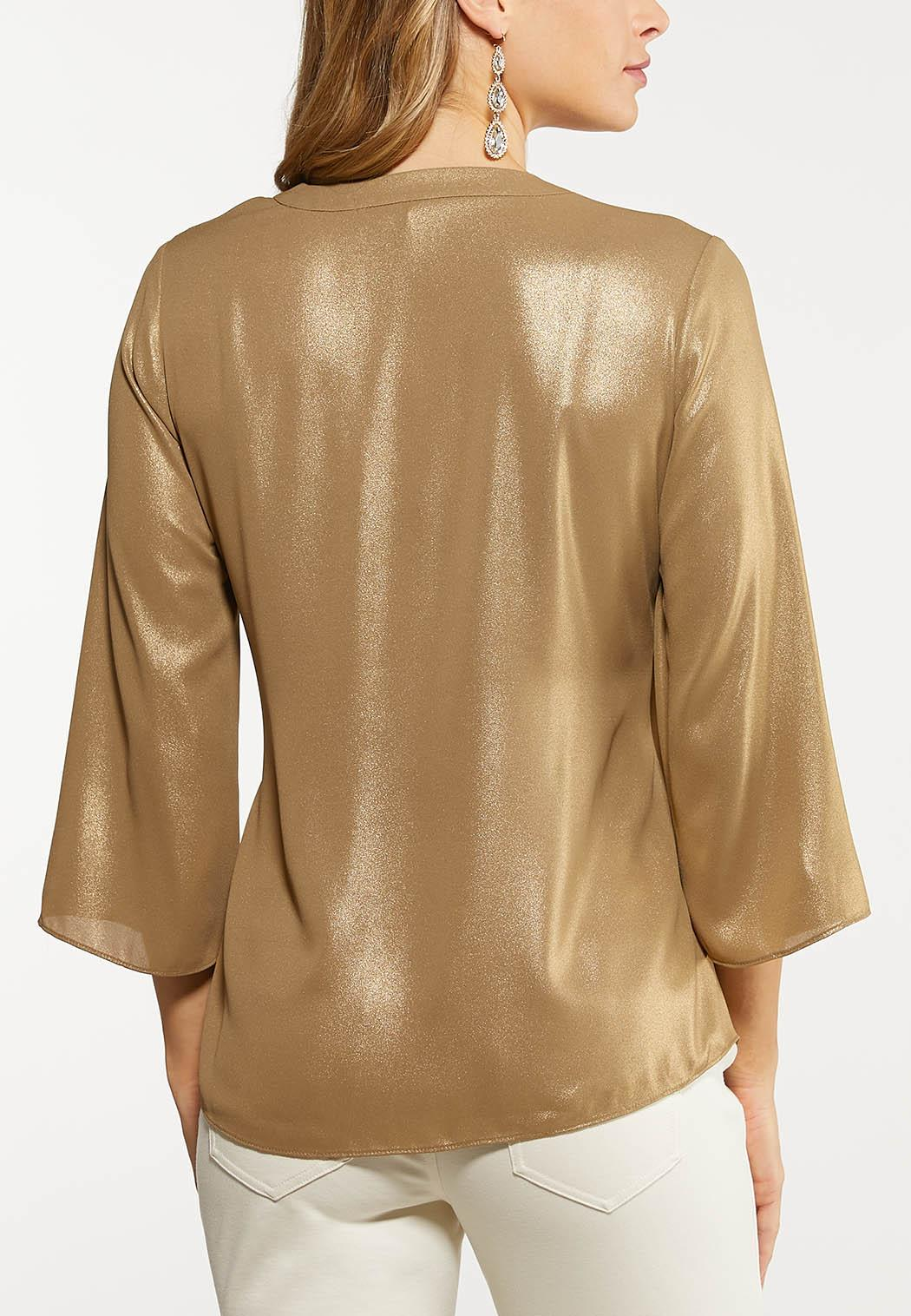 Plus Size Shimmery Gold Faux Wrap Top (Item #44048444)