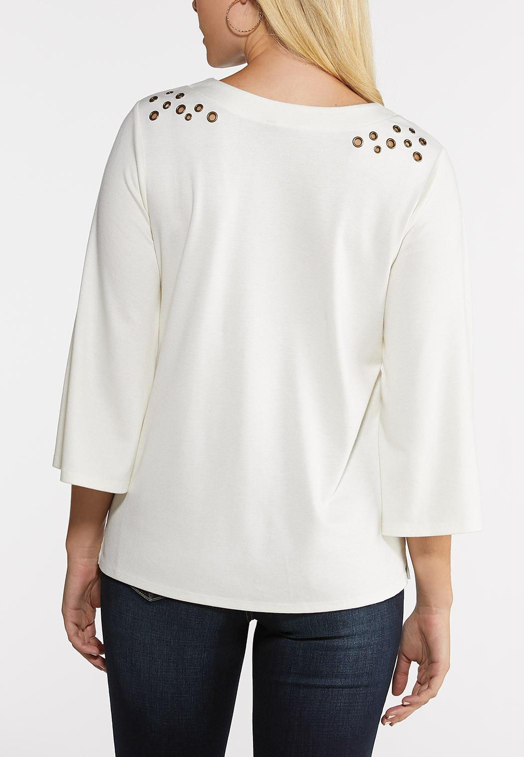 Ivory Grommet Shoulder Top (Item #44048445)